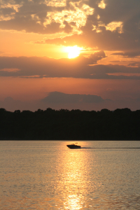 Table Rock Boat Sunset